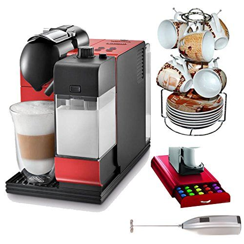 DeLonghi Lattissima EN520R with Nespresso Capsule System in Red Bundle with 15-piece Espresso Set + Drawer for Capsules and Milk Frother - http://teacoffeestore.com/delonghi-lattissima-en520r-with-nespresso-capsule-system-in-red-bundle-with-15-piece-espresso-set-drawer-for-capsules-and-milk-frother/