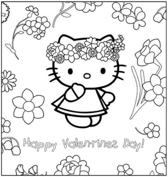 Coloring Pages For Valentines Day Hello Kitty : Happy valentines day from hello kitty coloring page for