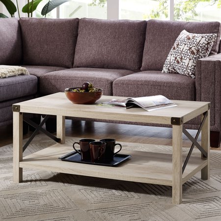 Manor Park 40 Inch Rustic Wood Coffee Table White Oak X Coffee