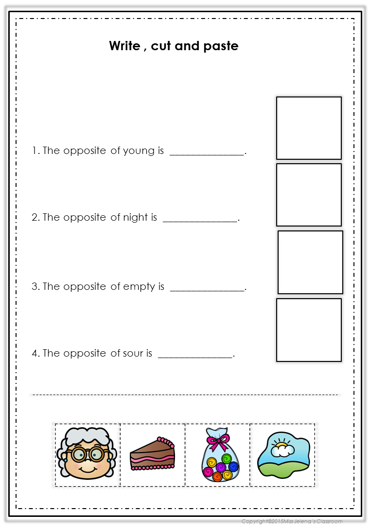 Opposites Worksheets for young learners