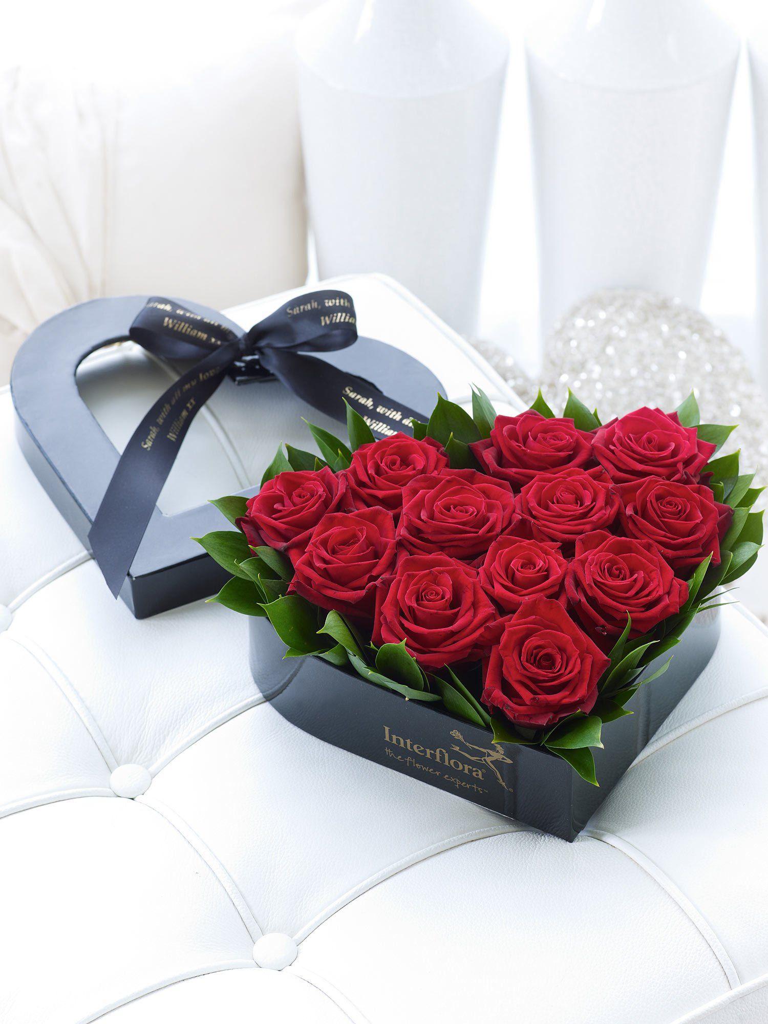 Personalised Red Rose Heart Box Red Rouge Blumen Rosen Blumen
