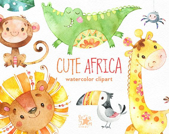 Susses Afrika Aquarell Tiere Clipart Lowe Giraffe Krokodil Etsy Watercolor Animals Animal Clipart Clip Art