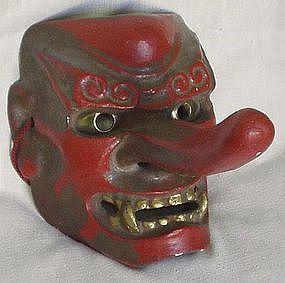Japanese Kabuki Masks | Old Japanese Mingei Folk Art Kabuki Theater Mask Tengu (item #109075)