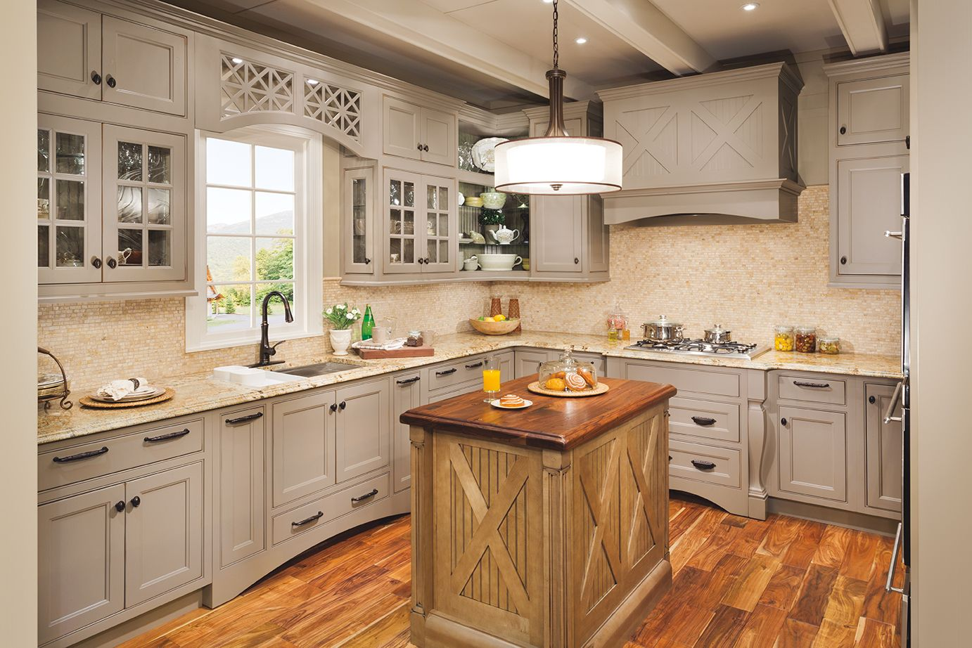 What a beautiful island design the gorgeous wellborn cabinets make