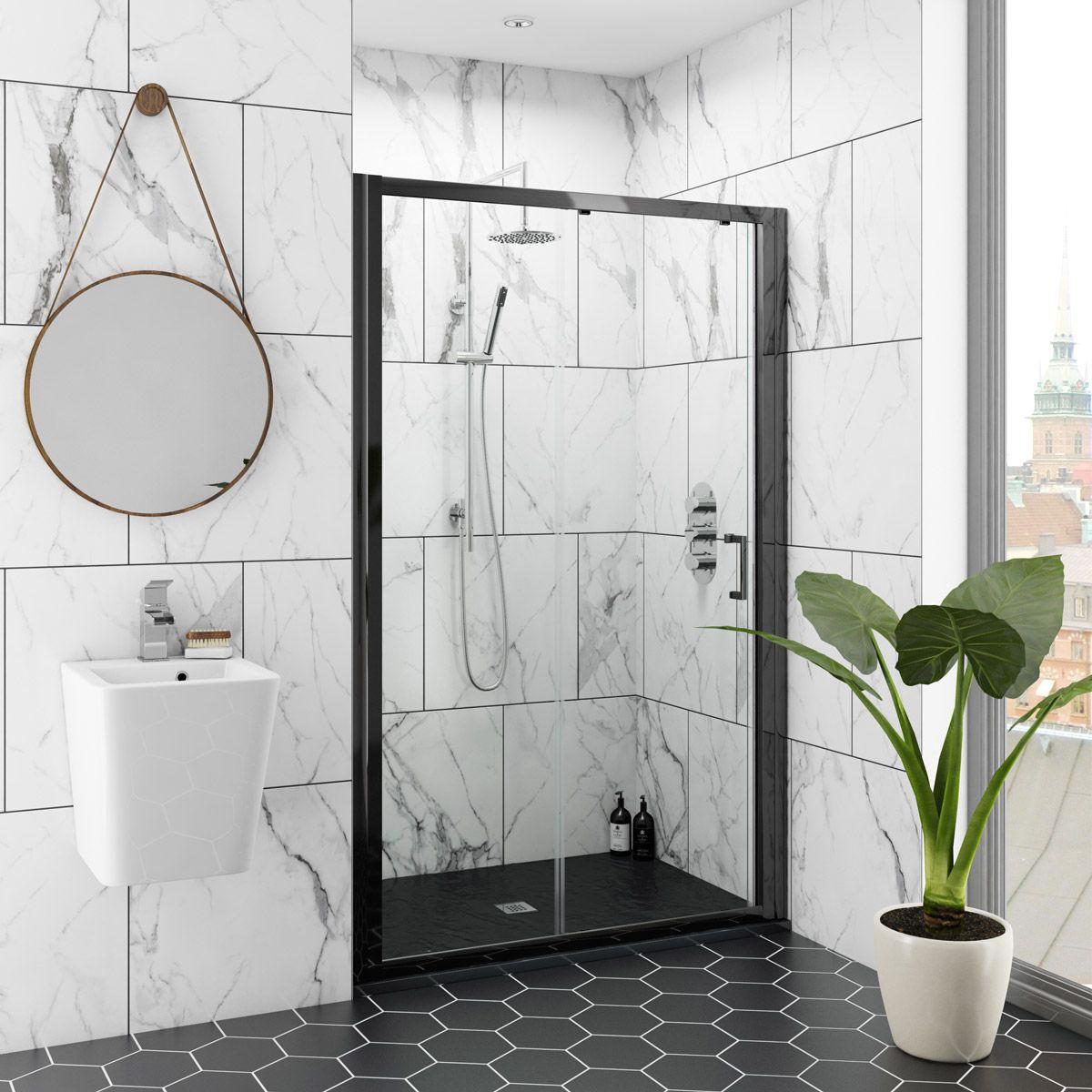 Mode Black 6mm Sliding Shower Door With Black Slate Effect Tray 1200 X 800 Sliding Shower Door Shower Doors Framed Shower Door