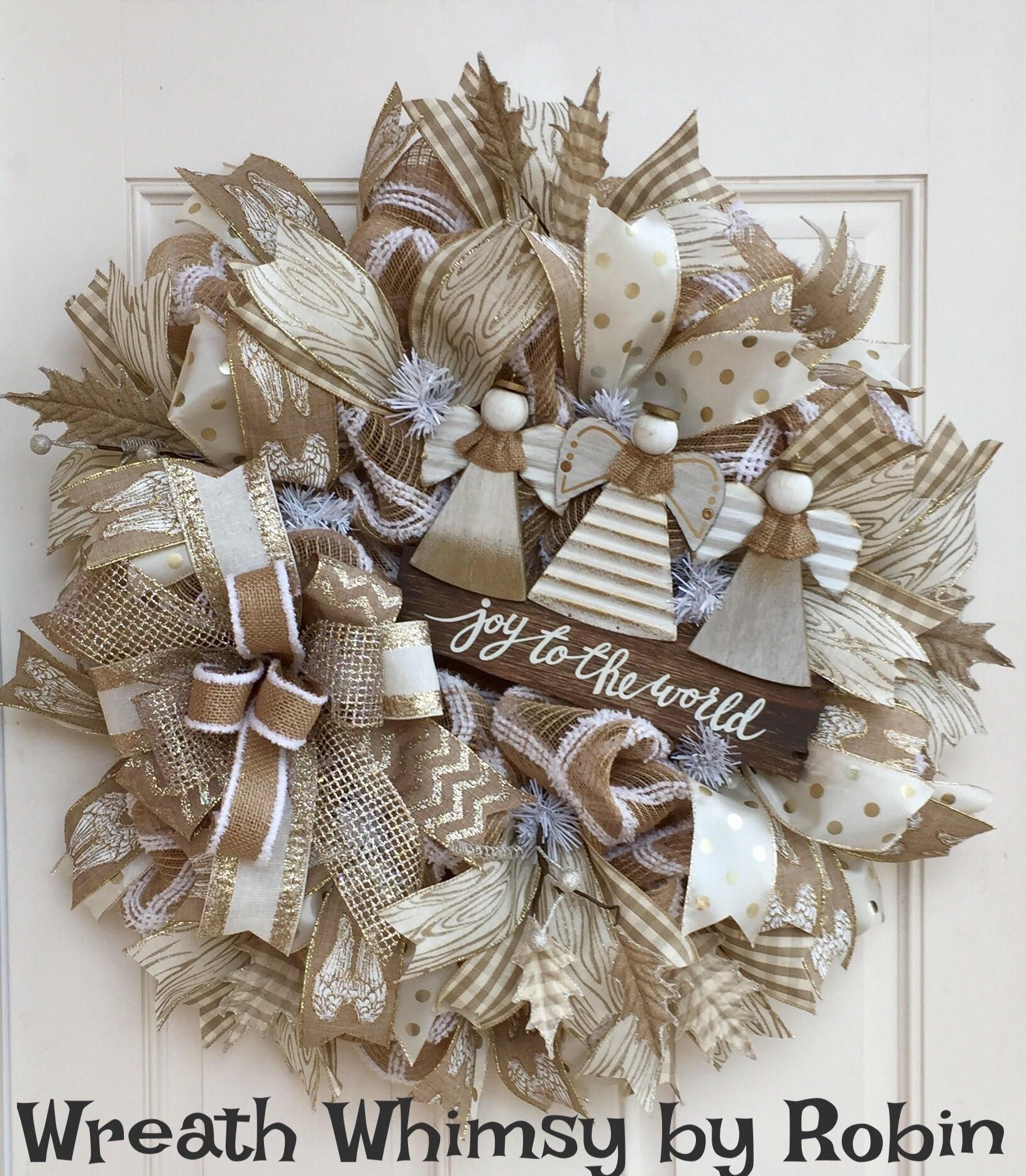 Charmant Christmas Burlap Mesh Wreath With Angel Sign In Cream, White, Tan U0026 Gold,
