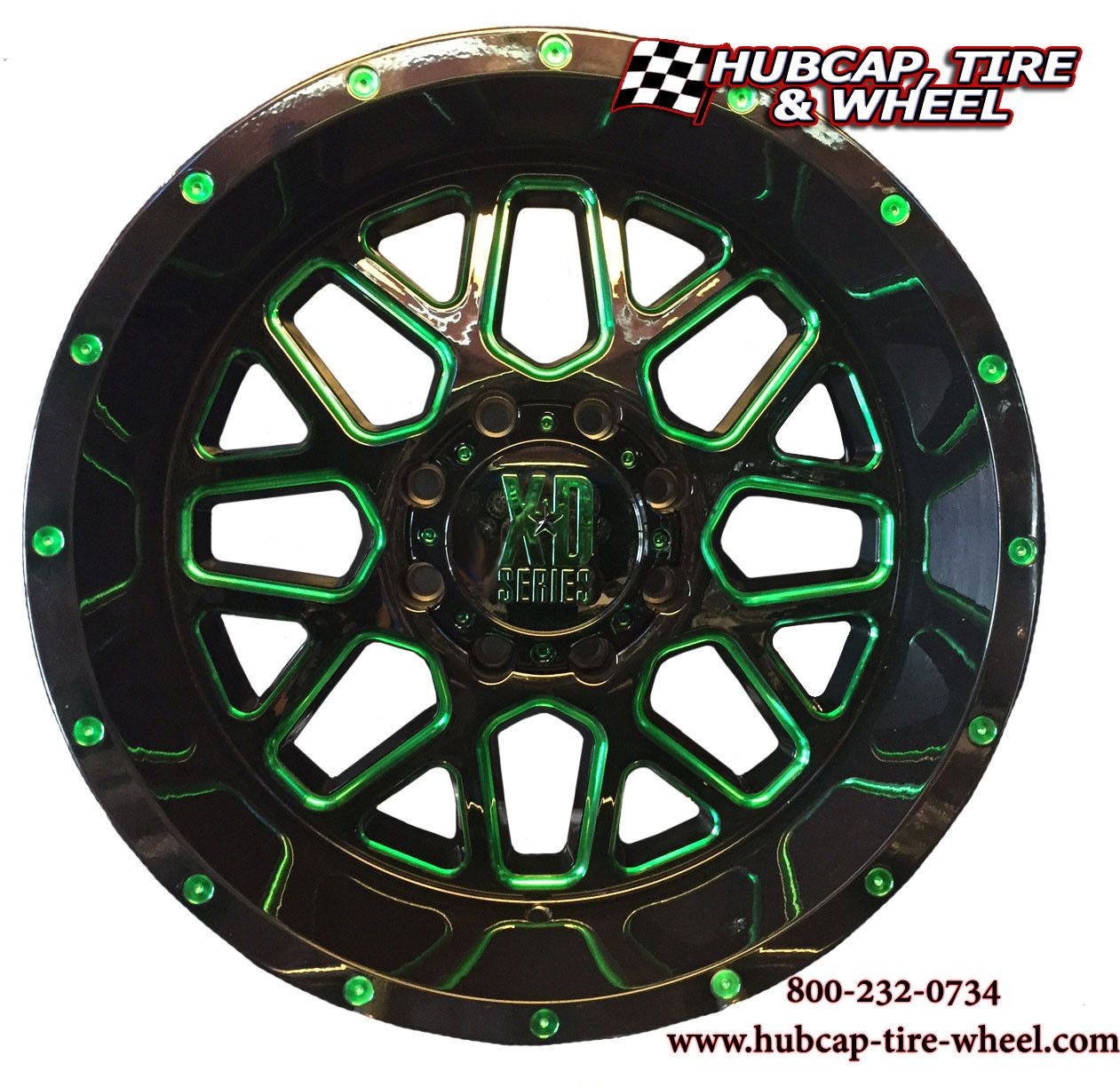 KMC XD Series Rims XD820 Grenade Black And Machined With Custom Green Clear