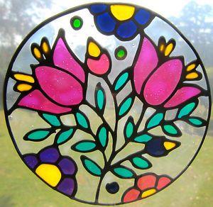 Folk Art Flower Decal Stained Glass Style Suncatcher Window Sticker Leadlight
