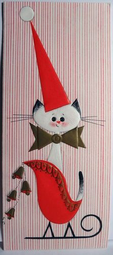 vintage Christmas card with cute cat