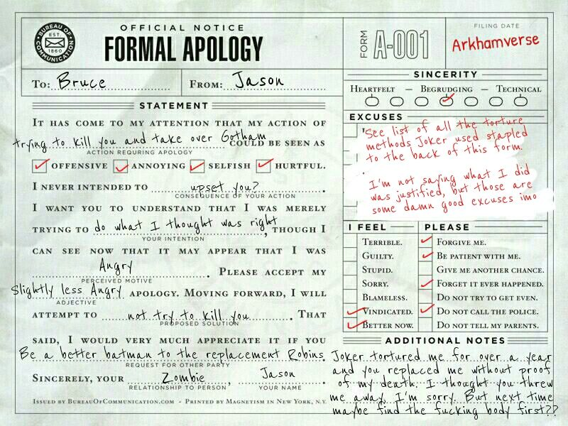 Submitted by-    kaimacieltumblr  Jason Todd - apology letters to customer