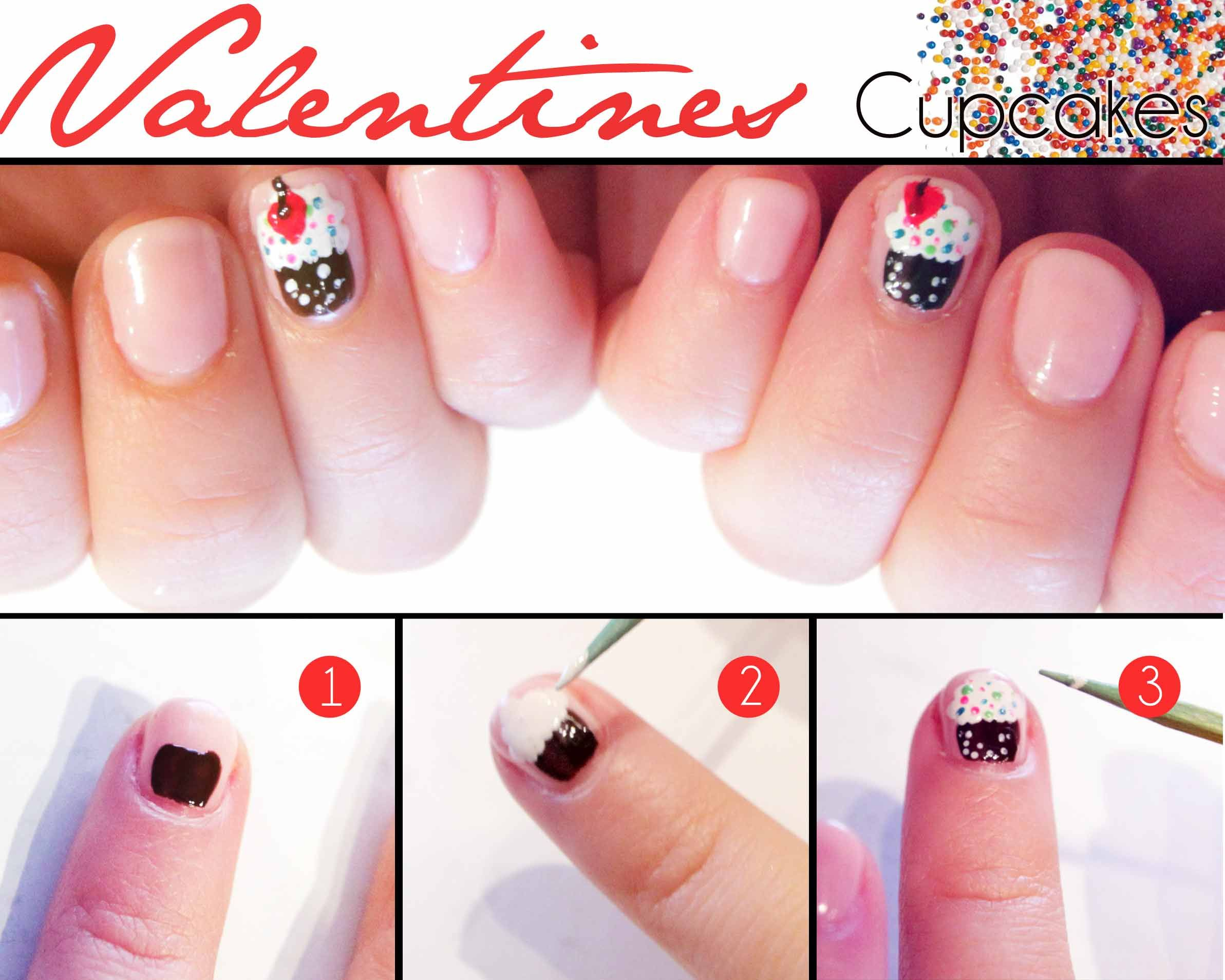 1. Paint the body of the cupcake with a dark brown polish.  2. Use a toothpick or dotting tool to stipple on the icing.  3. With the same toothpick and some dots for the icing and draw a red heart.