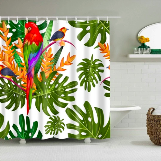 Jungle Parrot Fabric Shower Curtain In 2020 Fabric Shower