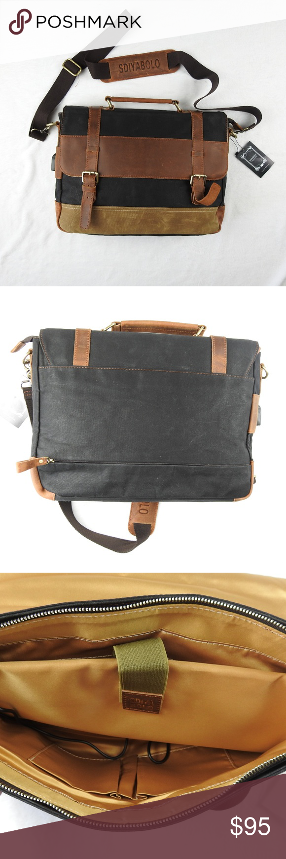 eeb36785e67 Messenger Laptop Bag Vintage Canvas Leather 15in Men s Messenger Bag  Vintage Canvas Leather Military Shoulder Laptop