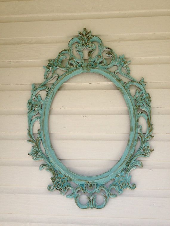 Shabby Chic Picture Frame with Glass, Large Ornate Oval