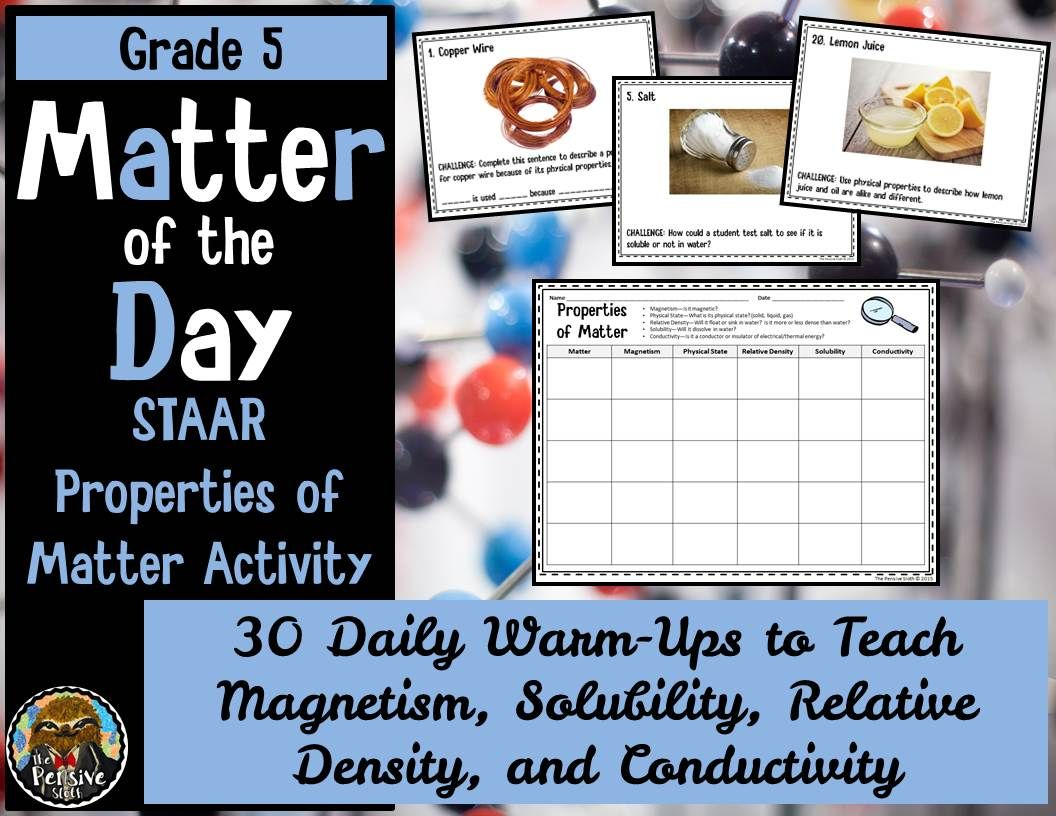 Teaching Properties Of Matter Daily Review Slides And Task