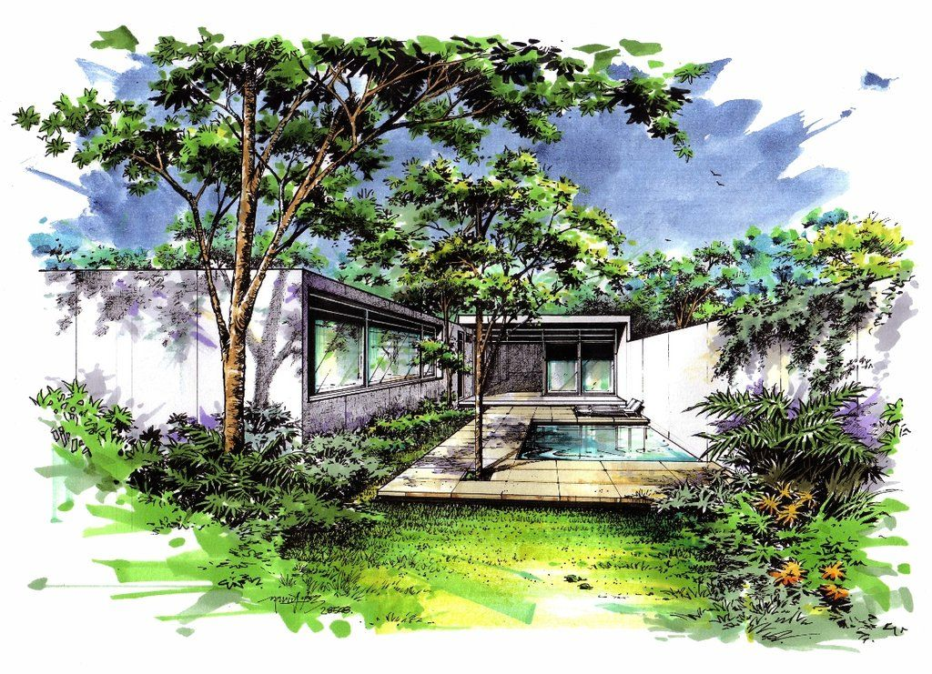 Designing color by on for Croquis jardin paysager