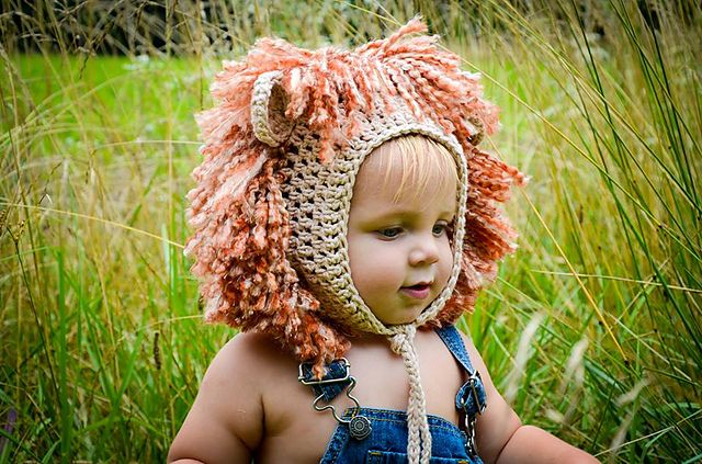 Ravelry: Lion & Lioness Baby Bonnet pattern by Crochet by Jennifer - for baby on Halloween!