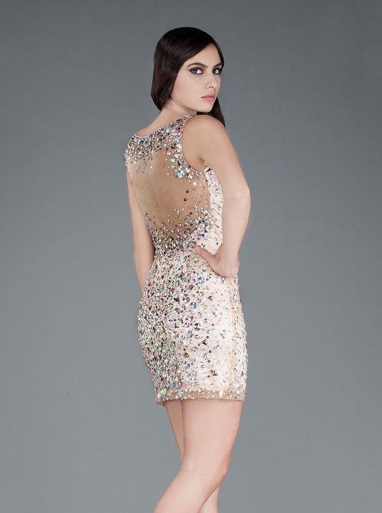 dbf42f85acf7 Κοντό βραδινό φόρεμα κεντημένο με πέτρες - Φορέματα Κοκτέιλ