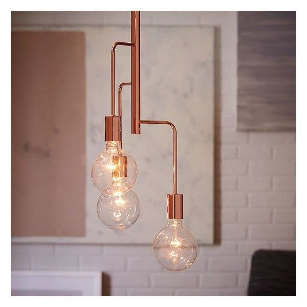 West Elm Metro Pendant 3 Light Copper ($171) ? liked on Polyvore featuring home lighting ceiling lights west elm lighting copper lights 3 arm l& ... & West Elm Metro Pendant 3 Light Copper ($171) ? liked on Polyvore ...
