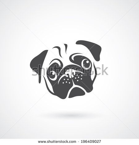 Pug Dog Face Vector Illustration Stock Vector Pug Tattoo