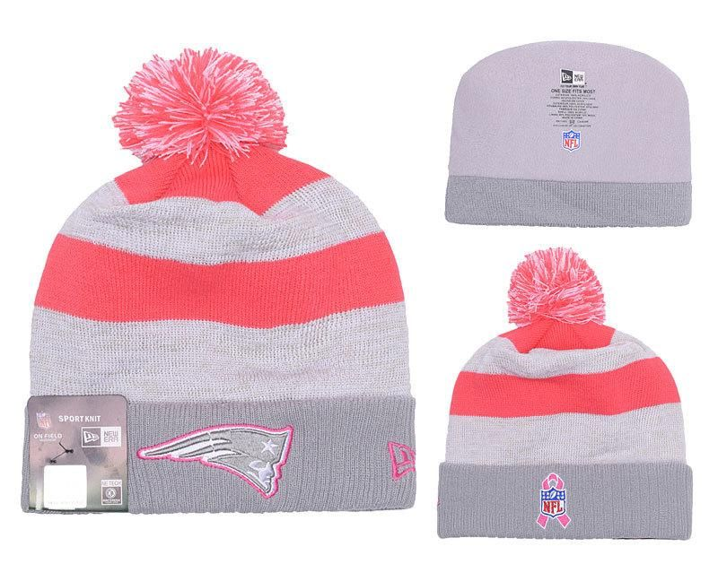 324ebb5e8 Men's / Women's New England Patriots New Era NFL Women's Breast Cancer  Awareness Knit Pom Beanie Hat - Pink / Gray