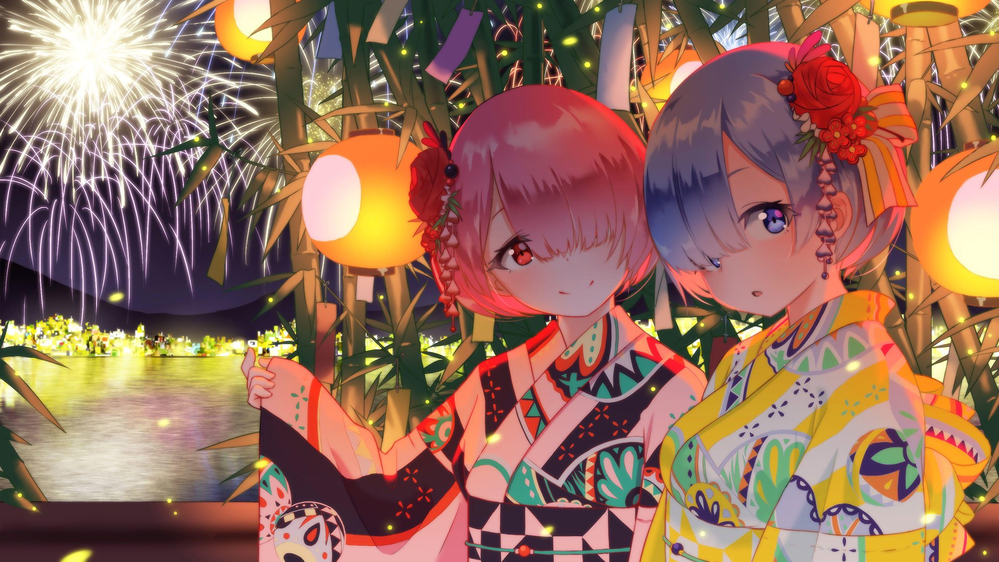 anime anime girls Rem Rem (Re Zero) Ram (ReZero) Ram