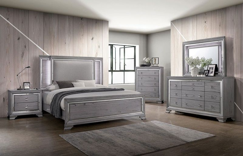alanis light gray modern bedroom set