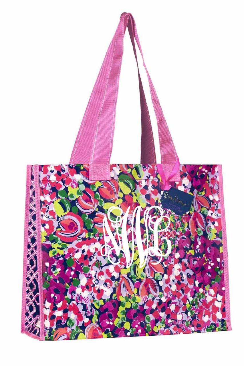 74336bb9e64493 tinytulip.com - Monogrammed Lilly Pulitzer Market Bag Wild Confetti, $20.00  (http: