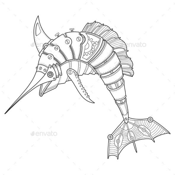Steam punk style swordfish. Mechanical animal. Coloring