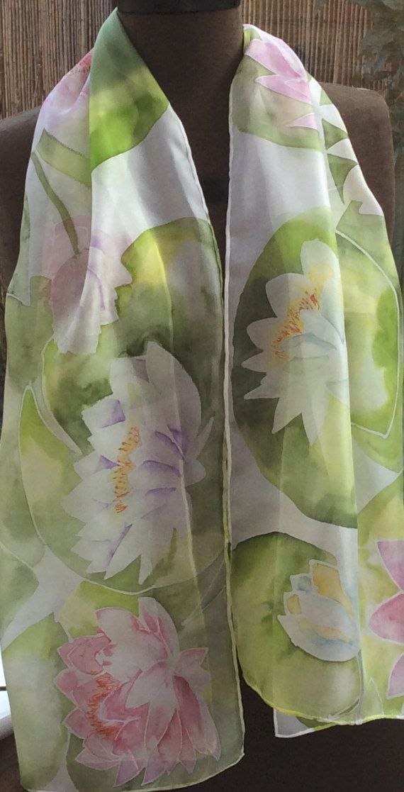 Waterlilies Hand Painted Silk Scarf. Pink and White Waterlily