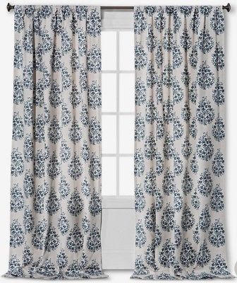 TWO Threshold Blue Paisley Curtain Panels 54 X 95 NEW WINDOW CURTAINS