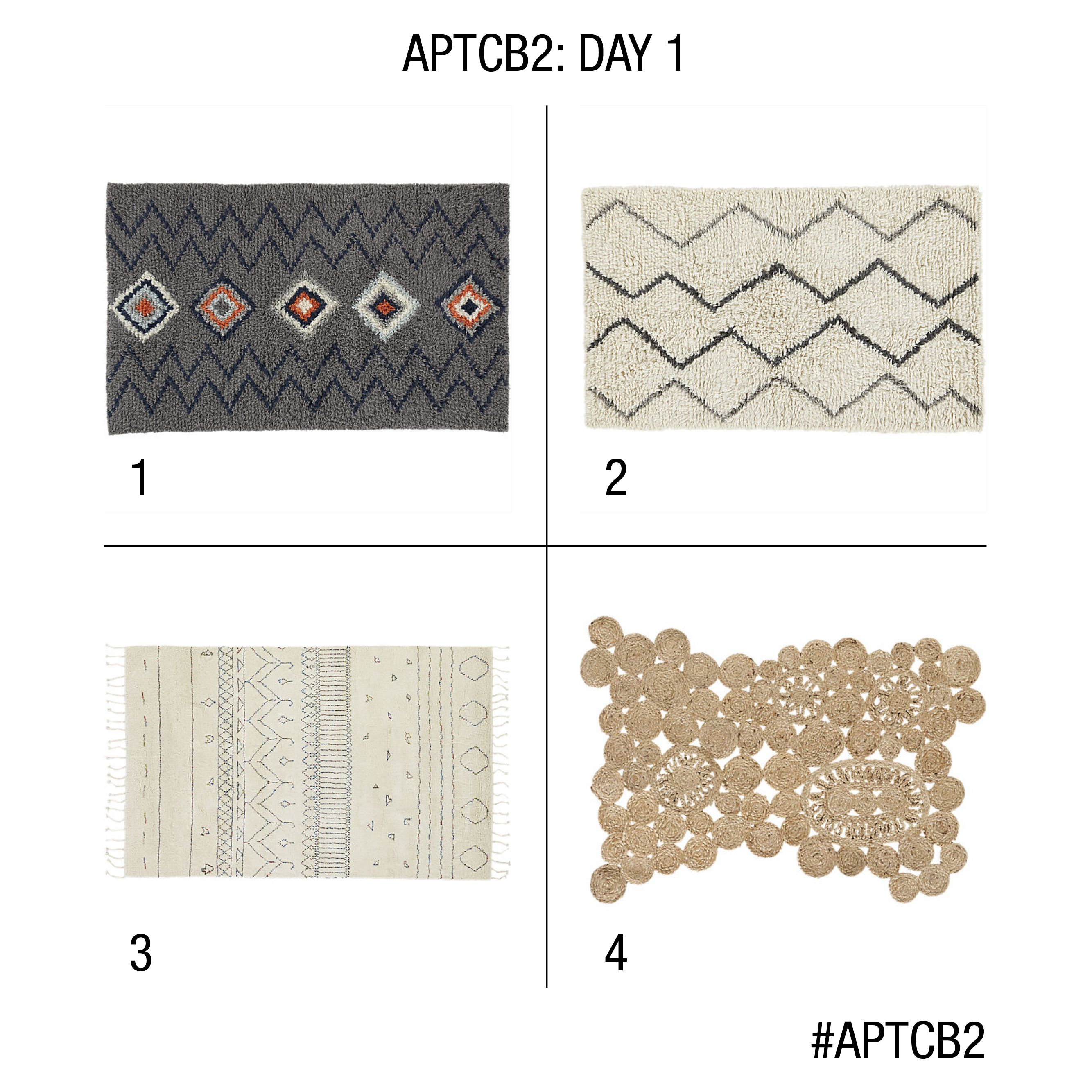 Which CB2 rug should go in @sfgirlbybay's L.A. apartment studio? Vote today, August 3 through 11:59 pm ET tonight. #APTCB2