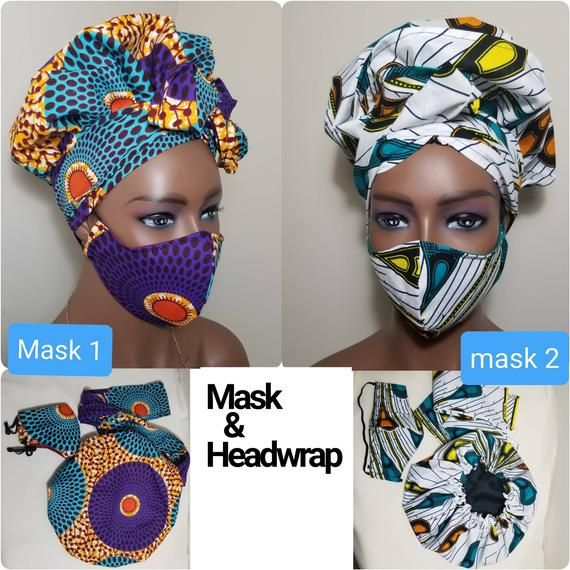African Ankaraprint Facemask/satin lined Bonnet He