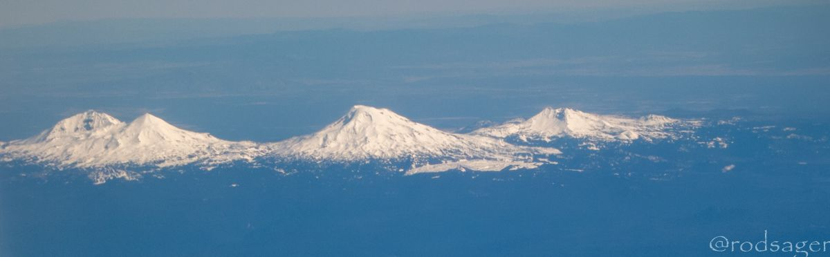 The Sisters, Oregon from airplane