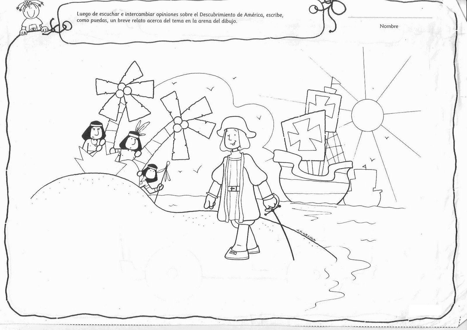dibujos-para-ninos-del-descubrimiento-de-america-fichaparapintar101.jpg  (1600×1132)   Cristobal colon para niños, Día de la hispanidad, Actividades