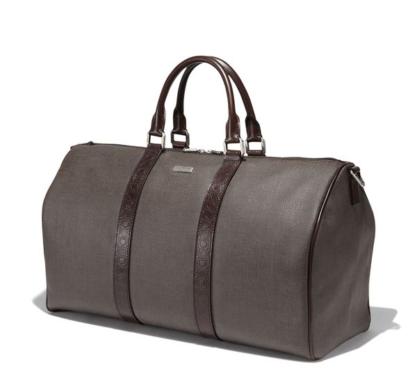 Duffle Bag With Leather Handles And Removable Adjule Shoulder Strap In Pvc Gancio Stamped Calfskin