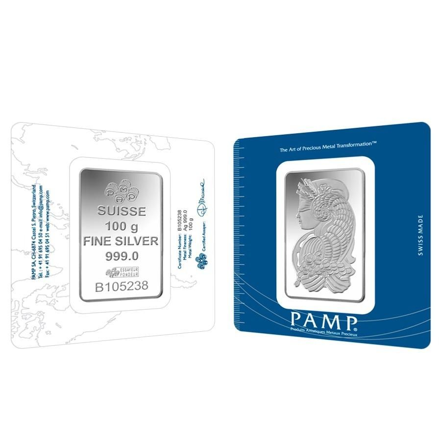 Lot Of 2 100 Gram Pamp Suisse Lady Fortuna Silver Bar 999 Fine In Assay Silver Bars Fortuna Silver