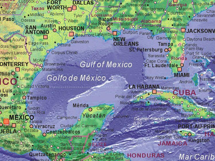 Major Cities Around The Gulf Of Mexico Gulf Of Mexico Maps In 2019 Gulf Of Mexico Louisiana