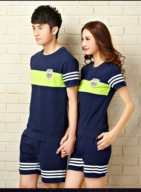 CC00418 Couples Casual sportswear Korean style spring and summer sets Uniforme  Escolar 857fdc2bd53f3