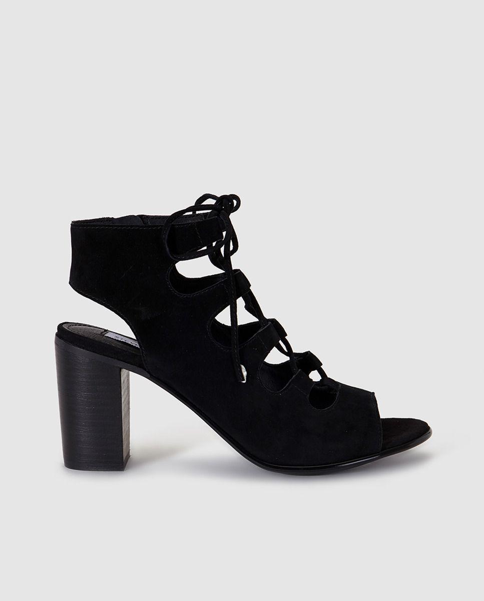 af7ce089 Sandalias de tacón de mujer Steve Madden de ante negras | zapatos ...