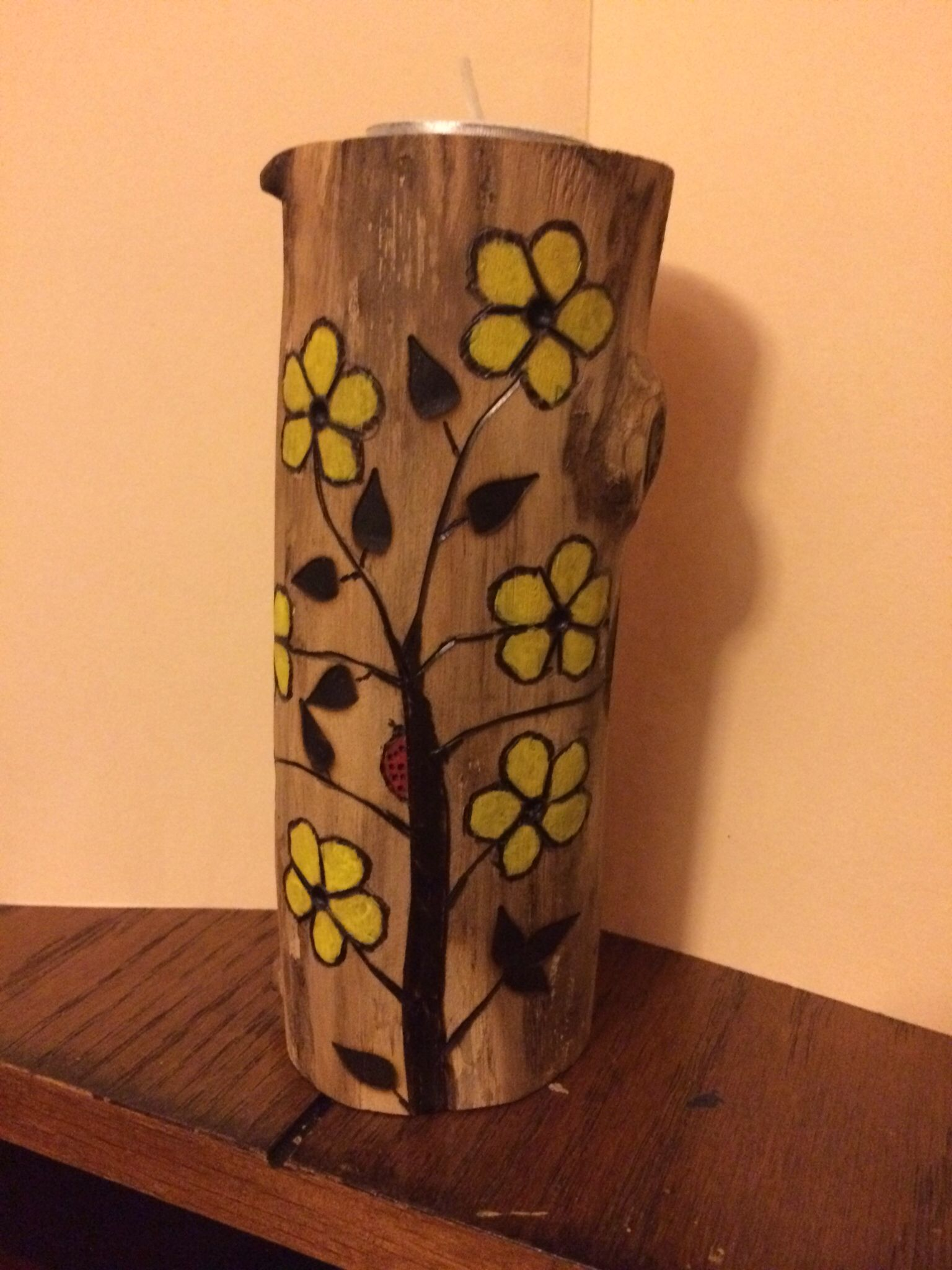 Wooden candle holders crafts - Yellow Flower Candle Holder Wood Burning Pyrography Wood Craft