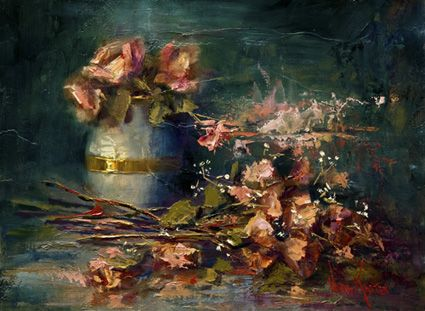"""Oil painting """"Roses & Gold Band"""" 12 x 16 inches by Artist, Nora Kasten"""