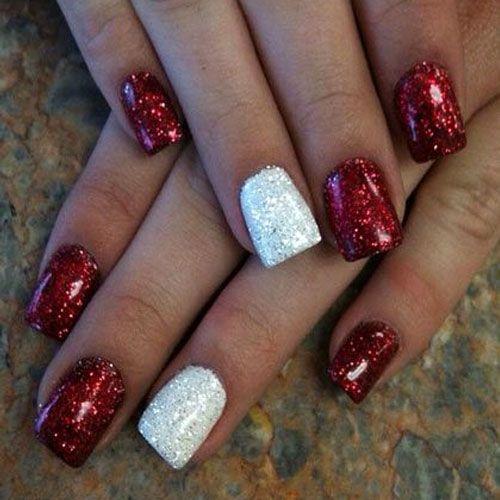 Red Xmas Acrylic Nails: Christmas Nail Art Designs