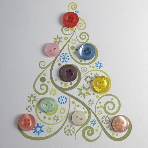 Button Christmas tree card. Love this card!!!  This could be adapted for almost any season - a tree trunk with falling leaves for Fall; a Cottage Flower garden for Spring; maybe a blooming rose bush for Summer.