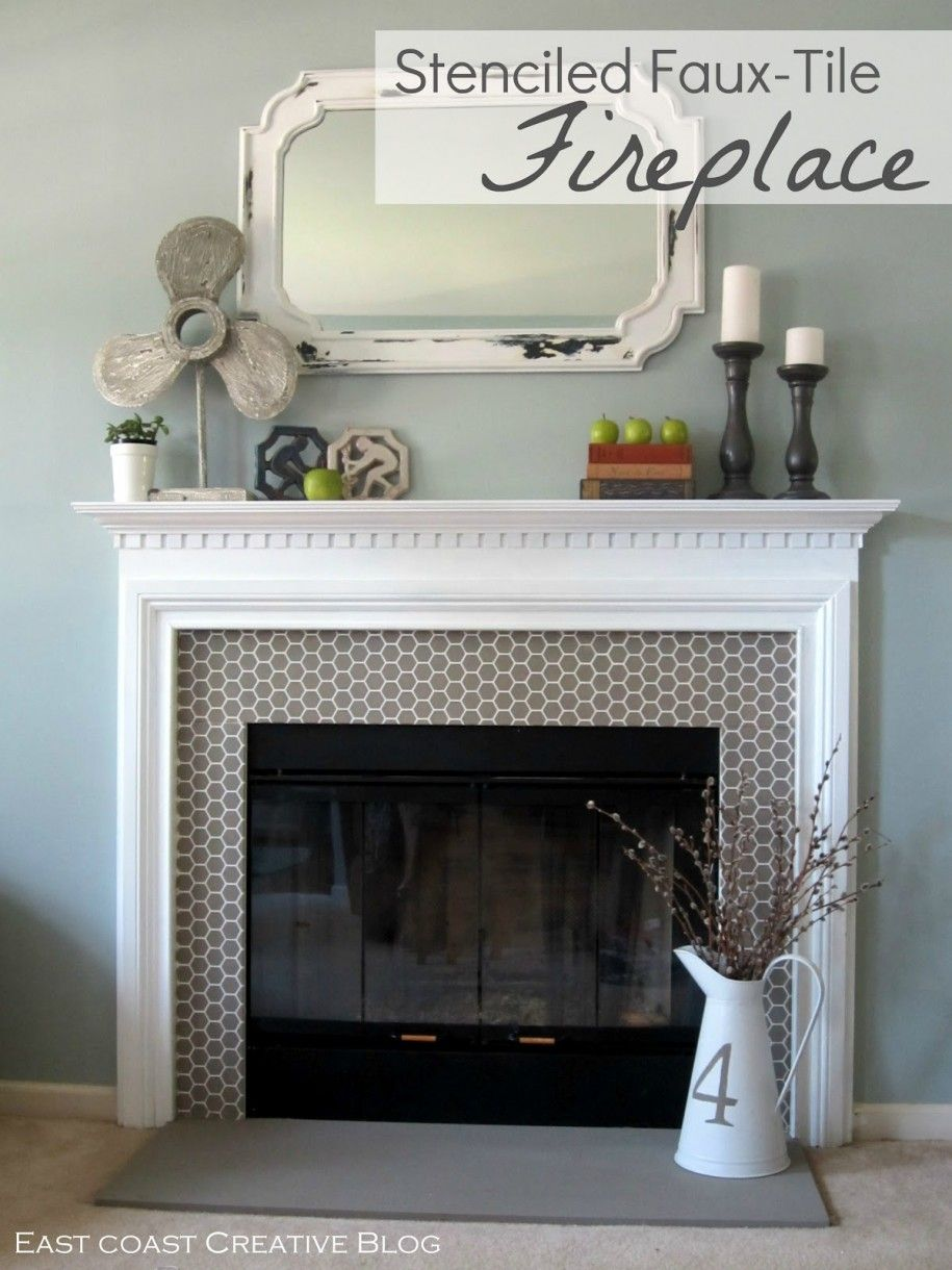 Tile Around Fireplace Captivating Painting With Stenciled Faux Design Ideas Shokoa Decoration Inspiration