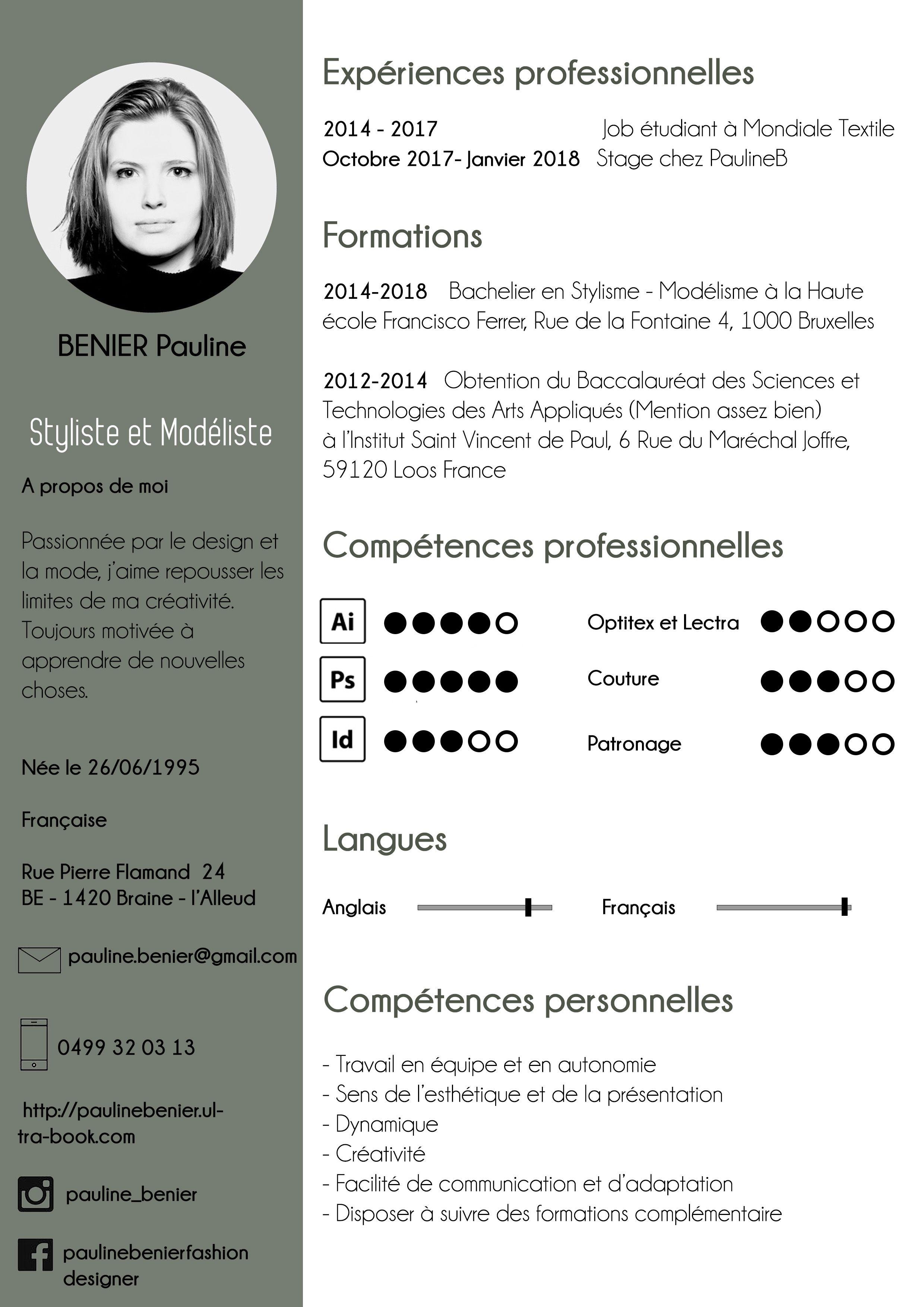 Pauline Benier Ultra Bookpremiere Rubrique Cv Styliste Modeliste Pauline Bacheliers