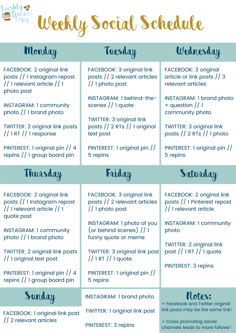 Free yourself from decision fatigue with a weekly social media free yourself from decision fatigue with a weekly social media schedule this printable template covers pinterest twitter facebook and instagram plus pronofoot35fo Image collections