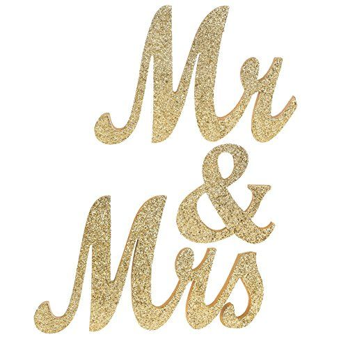 Ling S Moment Extra Large 7 Tall 30 Wide 3 4 Thick Exquisite Glitter Light Gold Mr And Mrs Letters Wedding Sign Elegant Sweetheart And Reception Top Table Sign Not Include Bases Review