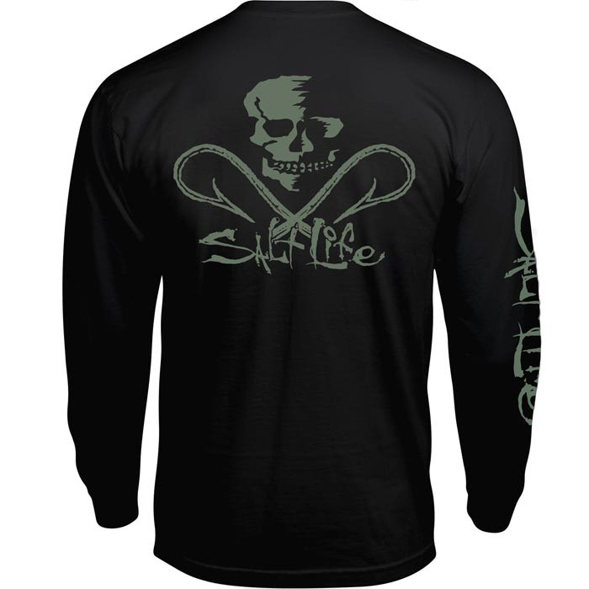 34e412d1bcc5 The Salt Life Skull and Hooks long sleeve pocket tee features a  screenprinted logo on the left chest, back and sleeve. - 100% preshrunk  ringspun cotton ...