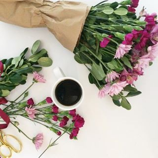 Favorite things...coffee + blooms.